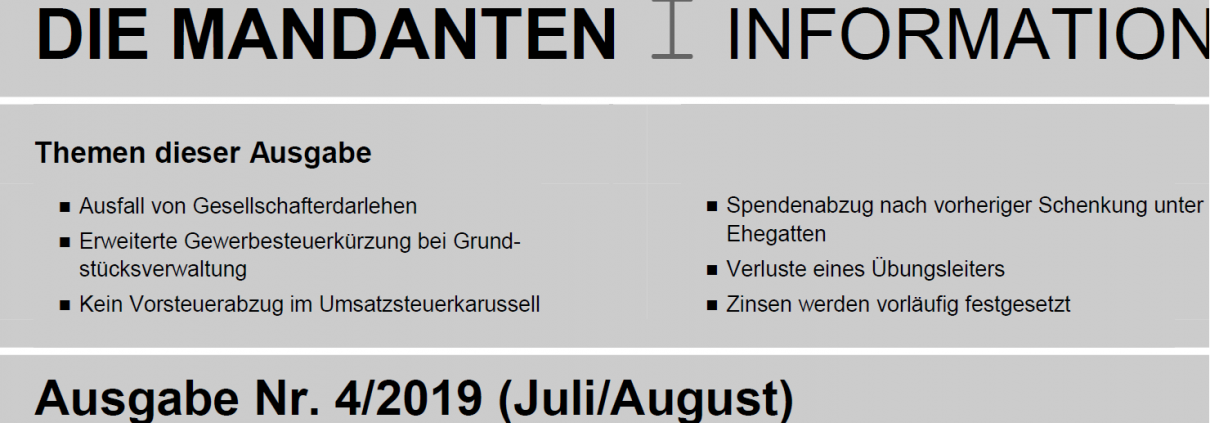 Mandanten Information Juni August 2019